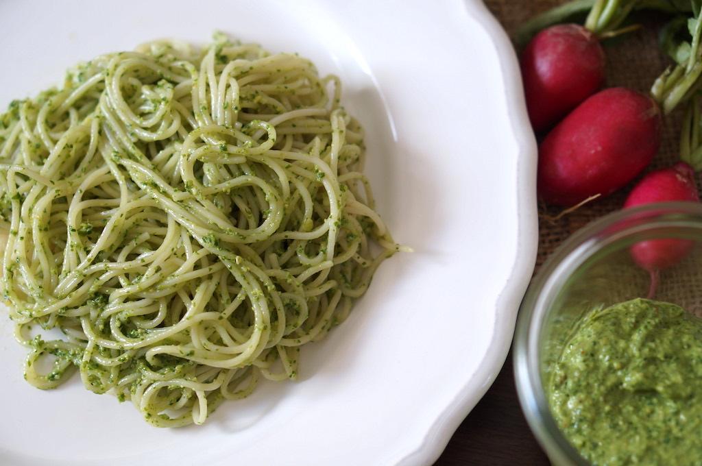 Spaghetti with radish and goats cheese pesto