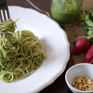 Spaghetti with radish leaves and goats cheese pesto