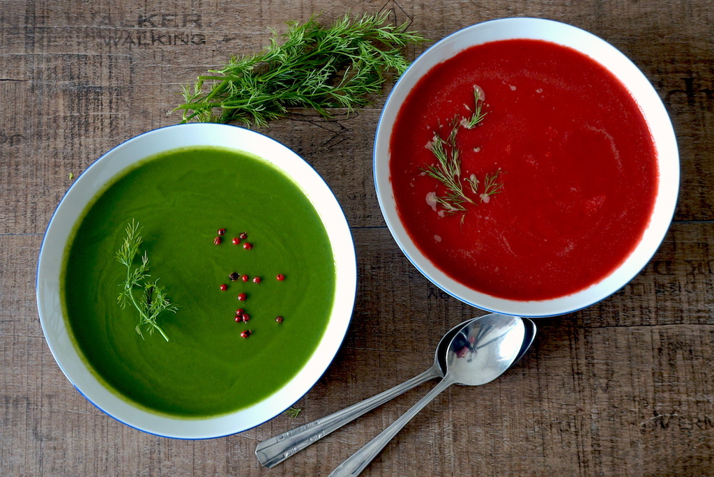 spinach and beetroot soup as duo